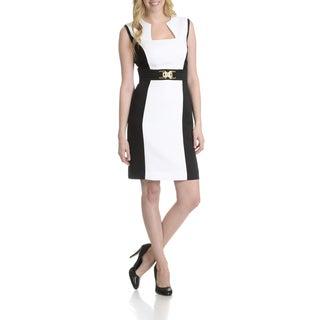 Tahari Women's Two-tone Colorblock Faux Belt Dress
