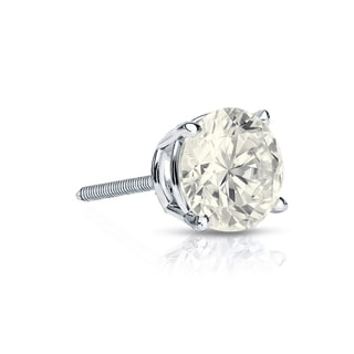 Auriya 14k Gold 1/3ct TDW Round-Cut Diamond 4-Prong Screw-Back Single Stud Earring (J-K, I2-I3)