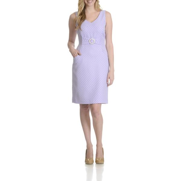 Tahari Women's Geometric Pattern Faux Belted Dress
