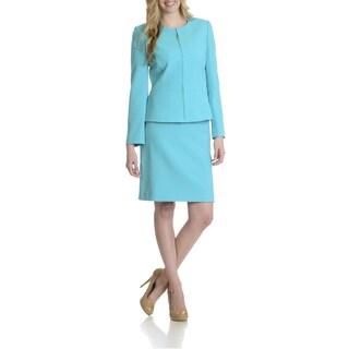 Tahari Women's Zip Front 2 Piece Skirt Suit