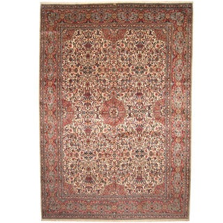 Herat Oriental Persian Hand-knotted 1940s Semi-antique Kerman Ivory/ Red Wool Rug (11'10 x 17'1)