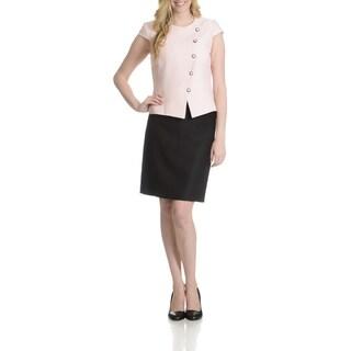 Tahari Women's Textured Asymmetrical Button Front 2 Piece Skirt Suit