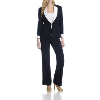 Tahari Women's Two-tone 2 Piece Pant Suit