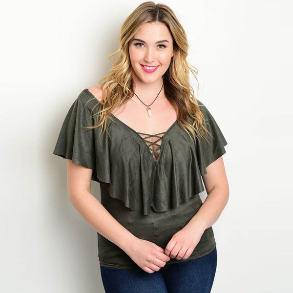 Shop the Trends Women's Plus Size Short Sleeve Lace Up Top With Flounce Layer
