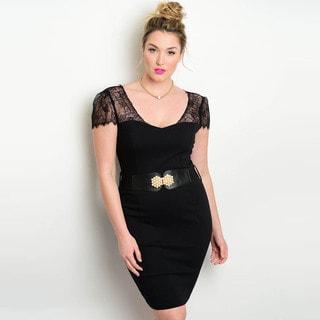Shop the Trends Women's Plus Size Short Lace Sleeve Mini Bodycon Dress