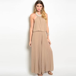 Shop the Trends Women's Sleeveless Embellished Halter Woven Jumpsuit With Wide Legged Pants