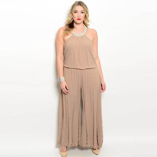 Shop the Trends Plus Size Women's Sleeveless Embellished Halter Woven Jumpsuit With Wide Legged Pants