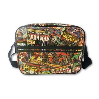 Marvel Comics Vintage Pattern Black Faux Leather Messenger Bag