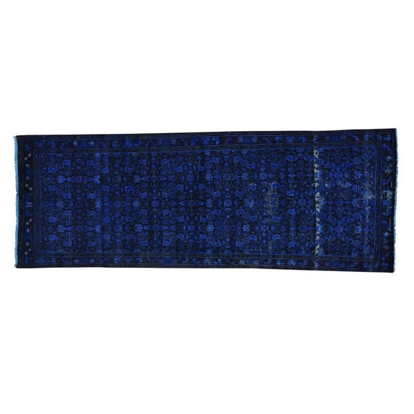 Persian Hussainabad Overdyed Navy Blue Runner Handmade Runner Rug (3'4 x 9'3)