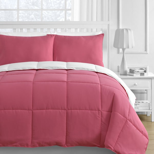 Reversible White & Pink 3-piece Comforter Set