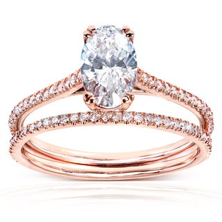 Annello 14k Rose Gold 1 1/2ct TDW Certified Oval Diamond Bridal Set (D, VS2)
