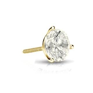 Auriya 14k Gold 1/4ct TDW Round-Cut Diamond 3-Prong Screw-Back Single Stud Earring (J-K, I2-I3)