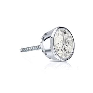 Auriya 14k Gold 1/4ct TDW Round-Cut Diamond Bezel Screw-Back Single Stud Earring (I-J, I1-I2)