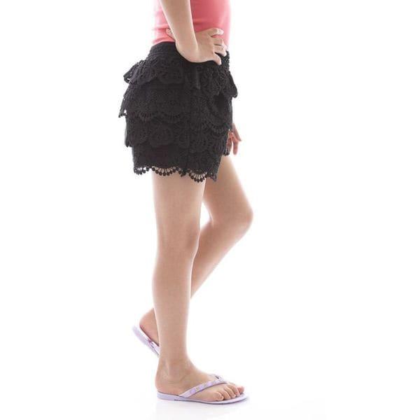 Soho Girls Kids Solid Cream/ Black Crochet Tier Shorts