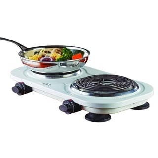 Brentwood TS-361W White 1500-watt Electric Double Burner