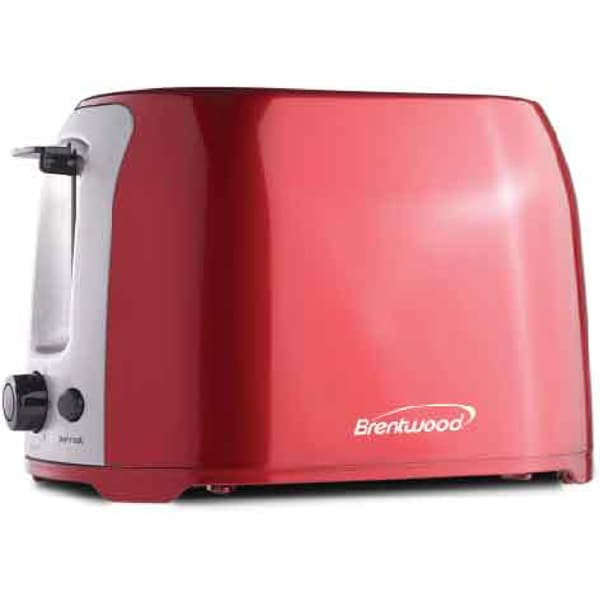 Brentwood TS-292B Red Stainless Steel 2-Slice Cool Touch/ Wide Slot Toaster