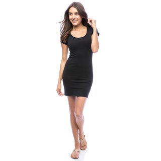 Body Countour Black Short-sleeve Pullover Dress