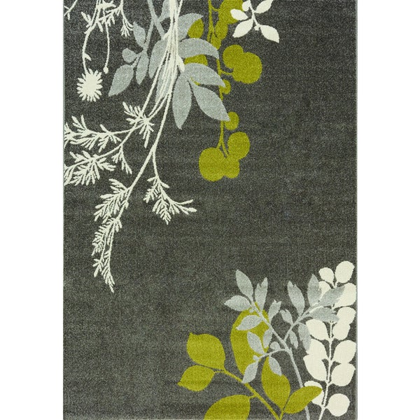Camilla Charcoal/ Green/ White Plant Rug (7'10 x 10'10)