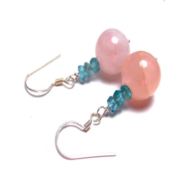 Pink Rose Quartz Apatite Hook Drop Earrings
