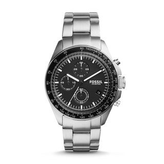 Fossil Men's CH3026 Sport 54 Chronograph Black Dial Silver-Tone Stainless Steel Bracelet Watch