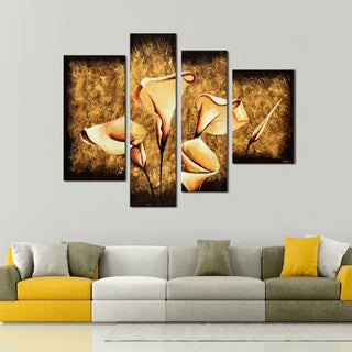 Hand-painted Multi Panels Floral Oil Painting 266 4-panel Canvas Art