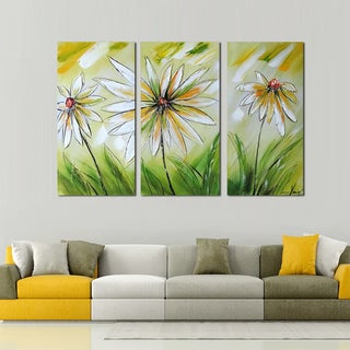 Hand-painted 3-panel White/ Green Floral Canvas Art 1160
