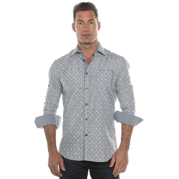 Isaac B. Men's Grey Pattern Long Sleeve Button Down Dress Shirt