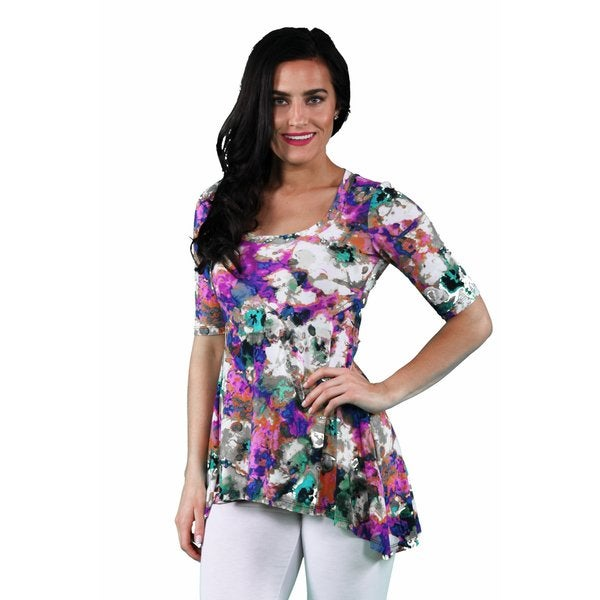 24/7 Comfort Apparel Women's Watercolor Painting Printed Tunic 17713249