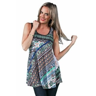 24/7 Comfort Apparel Women's Oriental Printed Tank Top