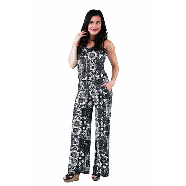 24/7 Comfort Apparel Women's Geometric Floral Print Jumpsuit