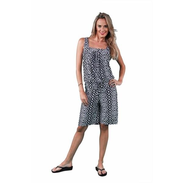 24/7 Comfort Apparel Women's Black/ White Geometric Tank/ Short Jumpsuit
