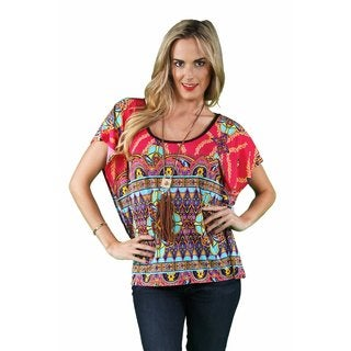 24/7 Comfort Apparel Women's Brown-Pink Mandala Oversized Tee