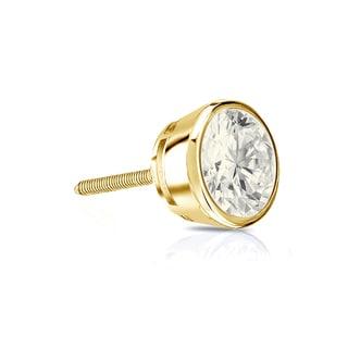 Auriya 14k Gold 1/4ct TDW Round-Cut Diamond Bezel Screw-Back Single Stud Earring (J-K, I2-I3)