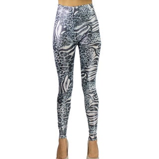 Le Nom Women's Zebra Print with Glitter Leggings (One Size Fits Most)