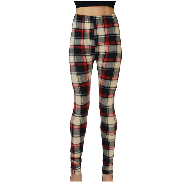 Le Nom Women's Soft Touch Color Block Plaid Leggings (One Size Fits Most)