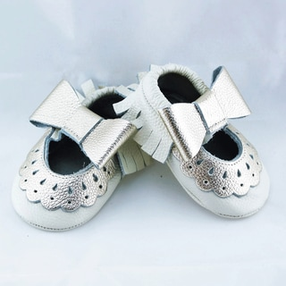 Genuine Leather Off White Mary Jane Baby/ Toddler Moccasin 18-24 Month Shoes