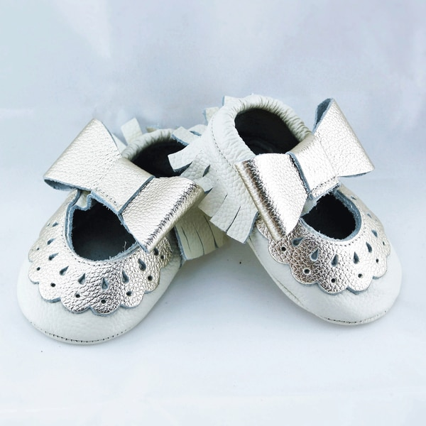 Genuine Leather Off White Mary Jane Baby/ Toddler Moccasin 6-12 Month Shoes