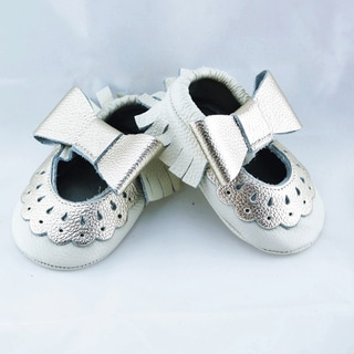 Genuine Leather Off White Mary Jane Baby/ Toddler Moccasin 3-6 Month Shoes