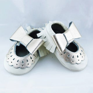 Genuine Leather Off White Mary Jane Baby/ Toddler Moccasin 0-3 Month Shoes