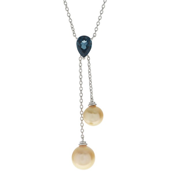 Pearls For You 18-inch Sterling Silver Golden South Sea Pearl and Blue Topaz Lariat Necklace (9-11mm)