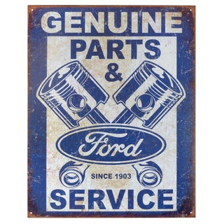 Vintage Metal Art 'Ford Service Pistons' Decorative Tin Sign
