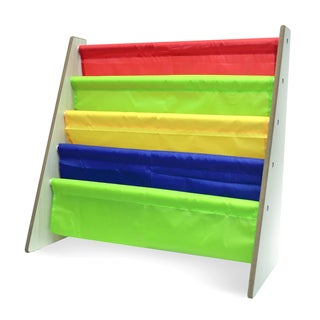 Sorbus Kids Toy Sling Book Rack, Red, Green, Yellow & Blue