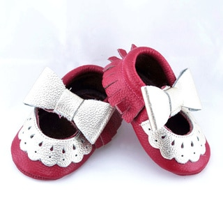 Genuine Leather Hot Pink Mary Jane Baby/ Toddler Moccasin 2-2.5 Year Shoes