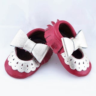 Genuine Leather Hot Pink Mary Jane Baby/ Toddler Moccasin 3-6 Month Shoes