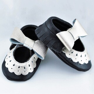 Genuine Leather Black Mary Jane Baby/ Toddler Moccasin 0-3 Month Shoes