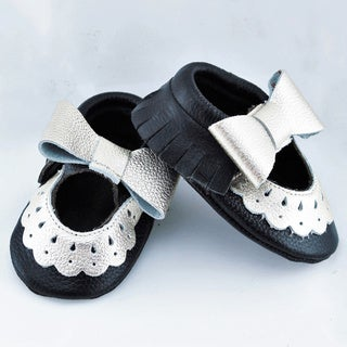 Genuine Leather Black Mary Jane Baby/ Toddler Moccasin 3-6 Month Shoes