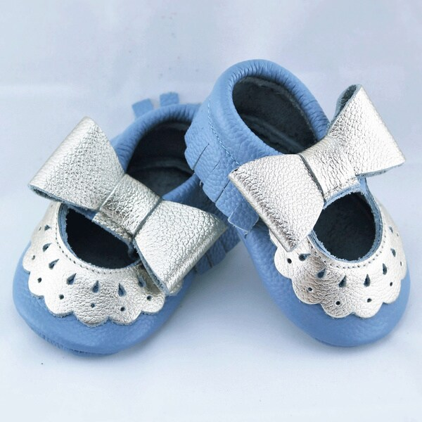 Genuine Leather Robin's Egg Blue Mary Jane Baby/ Toddler Moccasin 0-3 Month Shoes