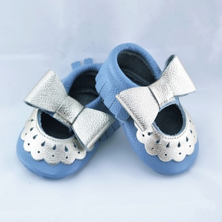 Genuine Leather Robin's Egg Blue Mary Jane Baby/ Toddler Moccasin 2-2.5 Year Shoes