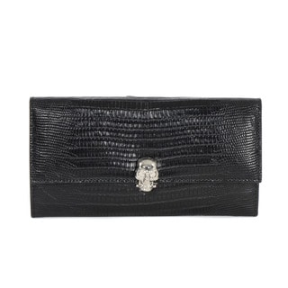 Alexander McQueen Embossed Leather Purse with Skull Closure
