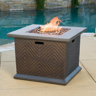 Christopher Knight Home Dundee Outdoor 32-inch Square Propane Fire Pit with Lava Rocks
